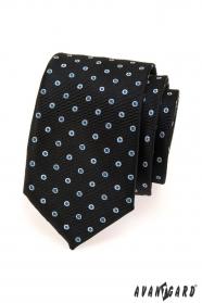 Schwarz Krawatte mit blau-weiß Tupfen