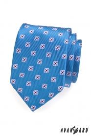 Krawatte gemustert Blau mit Blumen