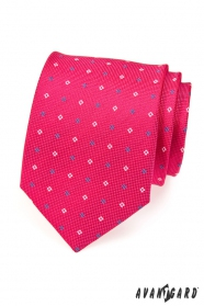 Krawatte fuchsia blaue und weiße Quadraten