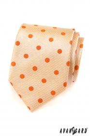 Krawatte Lachsfarbe mit orangen Tupfen