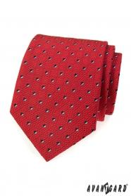 Herren Krawatte Rot mit schwarz-weißen Quadraten