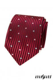 Rote strukturierte Krawatte mit großen weißen Punkten