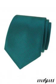 Türkisfarbene Krawatte mit schwarzen Quadraten