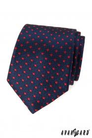 Blaue strukturierte Krawatte mit roten Punkten