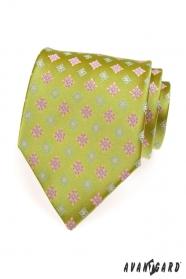 Hellgrüne Krawatte rosa blaues Muster