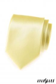 Hellgelbe glatte Herren Krawatte