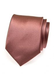 Krawatte einfarbig braun mit Glanz