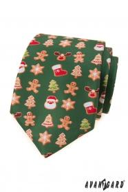 Grüne Krawatte mit Weihnachtsmotiv