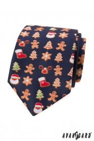 Blaue Krawatte mit Weihnachtsmotiv