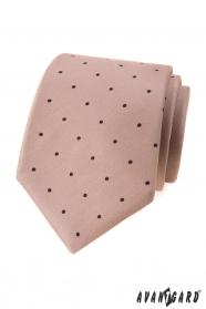 Beige Krawatte mit schwarzen Tupfen