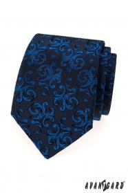 Dunkelblaue Krawatte mit glänzendem blauem Muster
