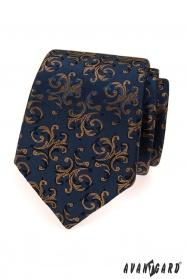 Blaue Krawatte mit braunen Ornamenten