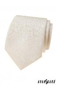 Cremige Krawatte mit glänzendem Muster