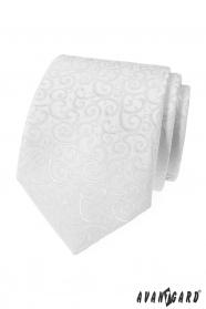 Herren Krawatte weiß mit glänzendem Muster