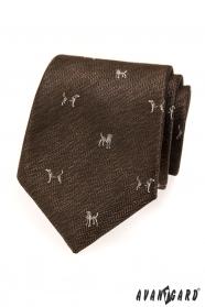 Krawatte mit Hund in Braun