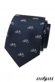 Blaue Krawatte mit weißem Fahrrad