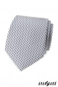Hellgraue Krawatte mit blauem Muster