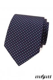 Blaue Krawatte mit farbigen Tupfen