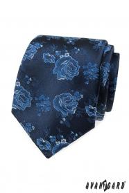 Blaue Krawatte mit Rosen