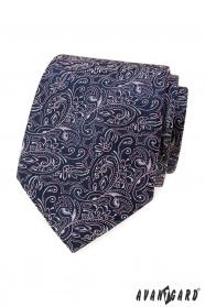 Dunkelblaue Krawatte mit Paisley in Pink