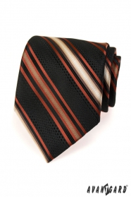 Schwarze Krawatte mit orangen Streifen