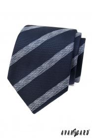 Blaue strukturierte Krawatte mit weißem Streifen