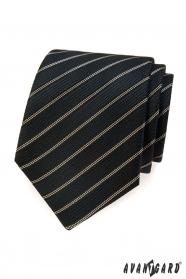 Schwarze Krawatte mit braunem Streifen