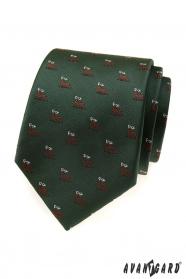 Grüne Krawatte mit Hirschmotiv