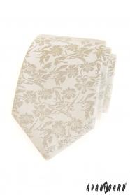 Creme Krawatte mit Blumenmuster