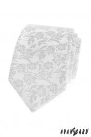Weiße Krawatte mit Blumenmuster