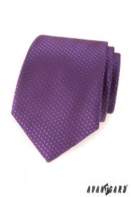 Lila Krawatte mit blauen Tupfen