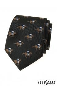 Schwarzer Krawatte mit Rennpferd