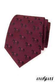 Weinrote Krawatte mit schwarzem Pferd