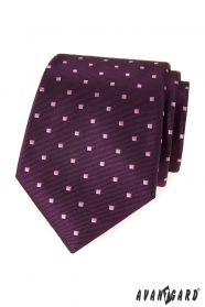 Lila Herren Krawatte mit Quadraten