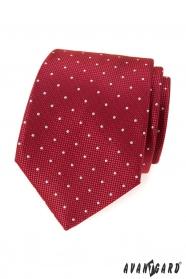 Rote gemusterte Krawatte mit weißem Punkt