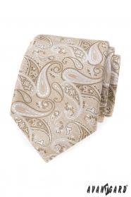 Beige Krawatte mit Paisley-Muster