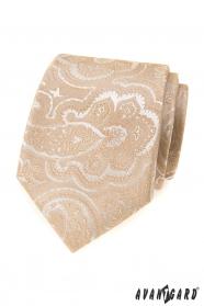 Beige Krawatte mit Muster