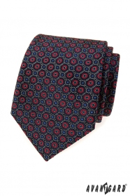 Blaue Krawatte mit blau-rotem Muster