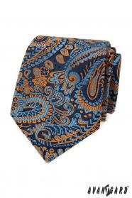 Blaue Krawatte mit buntem Paisley-Muster