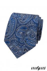 Krawatte mit blau-weißem Paisley-Muster