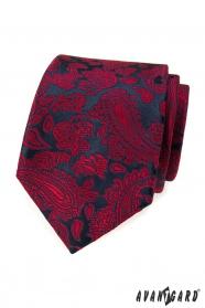 Dunkelblaue Krawatte mit rotem Paisley-Muster