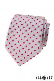 Graue Krawatte mit roten Tupfen