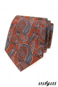 Zimtbraune Krawatte mit Paisley-Motiven