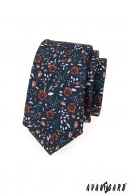Krawatte SLIM blau braune Blumen