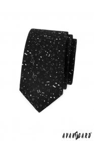 Schwarze, schmale Krawatte mit Musiknoten