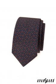 Blaue, schmale Krawatte mit braunem Muster
