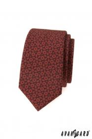Schmale braune Krawatte mit dunkelblauem Muster