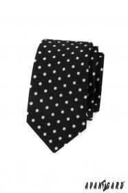 Schwarze, schmale Krawatte mit weißen Tupfen