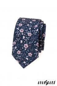Blaue, schmale Krawatte mit rosa Blüten