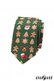 Grüne schmale Krawatte mit Weihnachtsmotiv